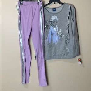 Large girls frozen outfit grey top purple leggings